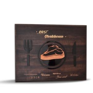 Best Steakhouse Award UV-Druck und Relief auf Holz-Plakette
